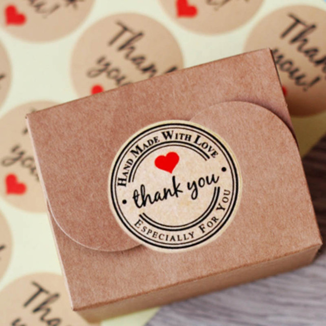 240pcs lot Thank You love self-adhesive stickers kraft label sticker  Diameter 3CM For 24fcfd531d49