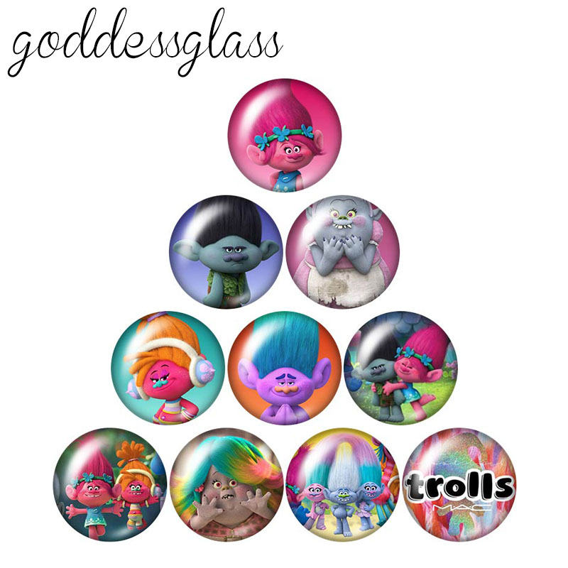 Lovely Cartoon Trolls 10pcs 12mm/16mm/18mm/20mm/25mm/30mm Round Photo Glass Cabochon Demo Flat Back Making Findings Wholesale