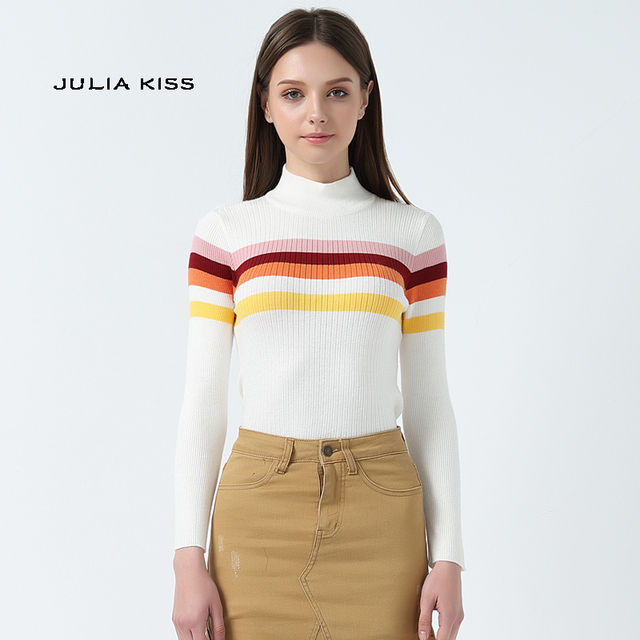 e4006957d Women High Neck Stripe Ribbed Knit Top Rainbow Striped Jumper-in ...