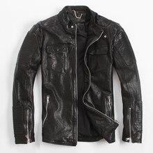 2017 черные итальянские кожаные мотоциклетные куртки мужчины плюс Размеры xxxl slim fit из толстой кожи байкерская куртка Прямая продажа с фабрики Бесплатная доставка