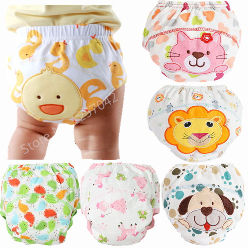 3Pcs Baby Training Pants Panties Diapers Reusable Washable Baby Cloth Diaper Cover Waterproof Cloth Nappy Cotton Diapers [mumsbest] 3pcs reusable cloth diaper cover washable waterproof baby nappy pul suit 3 15kgs adjustable boy diaper covers