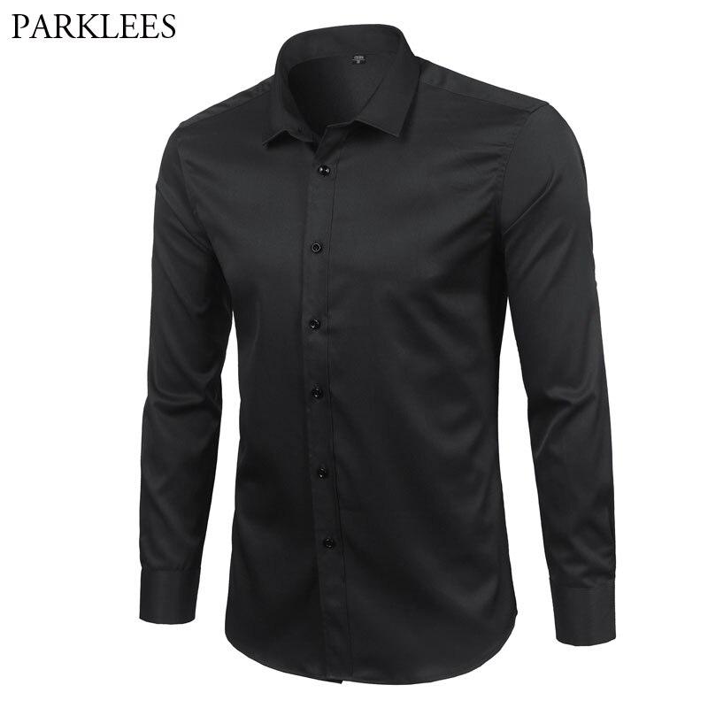 Black Mens Dress Shirt Slim Long Sleeve Elastic Bamboo Fiber Shirts 2018 Brand New Casual Button Down Shirt For Business Men 4XL