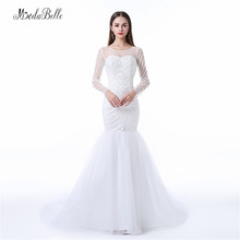 Modabelle Luxury Beaded Pearls Mermaid Wedding Dresses 2017 Trouwjurken Beach Long Sleeve Sweep Train Bridal Dress Wedding Gowns
