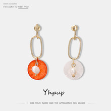 Yhpup Fashion Korean Copper Natural Pearls Dangle Earrings Natural Shell Hollow Geometric Brincos S925 Silver Jewelry for Women(China)