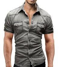 2018 New Men Jeans Shirts Summer Cotton Water Washing Male Tops Short Sleeve Flower Print Denim Shirt Men