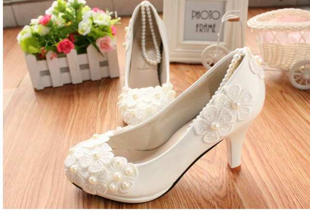 placeholder MIDDLE LOW HIGH HEELS white pumps shoes with lace flowers cheap  low price e0cef27cbb18