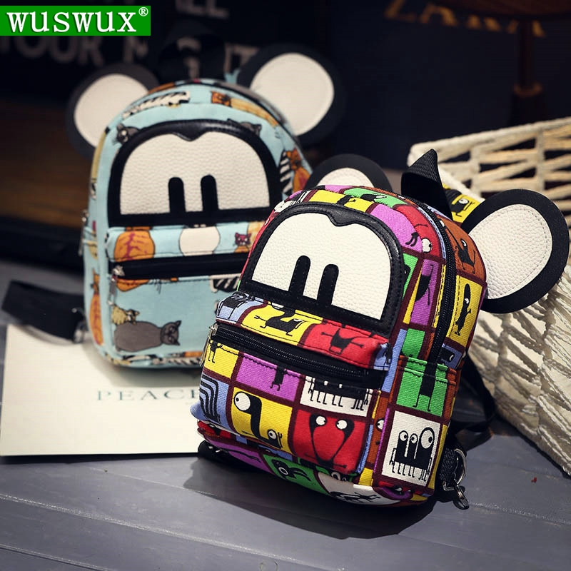 New Fashion Cute Cartoon Printing Canvas Women Backpack Travel Casual Mini Backpacks For Ladies And Girls