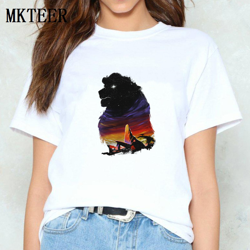 <font><b>The</b></font> Pride <font><b>Lion</b></font> <font><b>King</b></font> Kawaii Graphic Tees Harajuku <font><b>T</b></font> <font><b>Shirt</b></font> 100% Cotton Femme <font><b>Women's</b></font> 2019 Casual Vintage Print <font><b>T</b></font>-<font><b>Shirt</b></font> Tops image