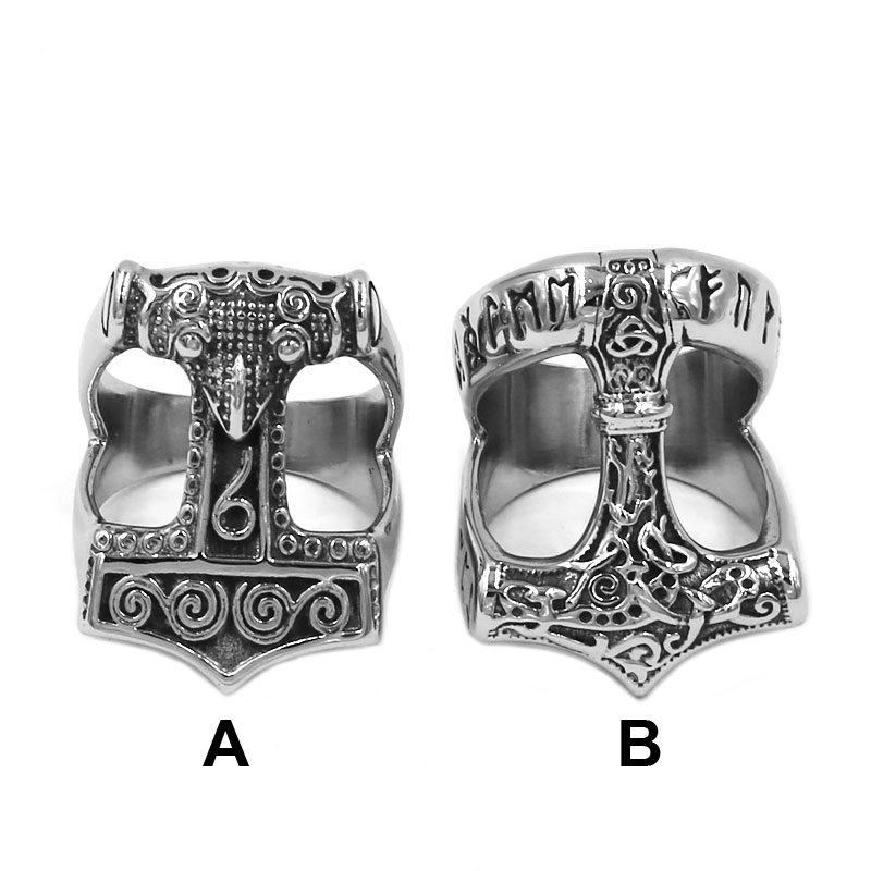 Norse Viking Myth Thor Hammer Ring Stainless Steel Jewelry Celtic Knot Ring Animal Amulet Biker Men Ring Wholesale 820B(China)