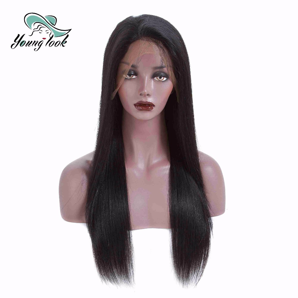 Young Look Natural Color Brazilian Remy Human Hair Lace Wig Straight Wig 13*4 Frontal Wig With Baby Hair 130% Density