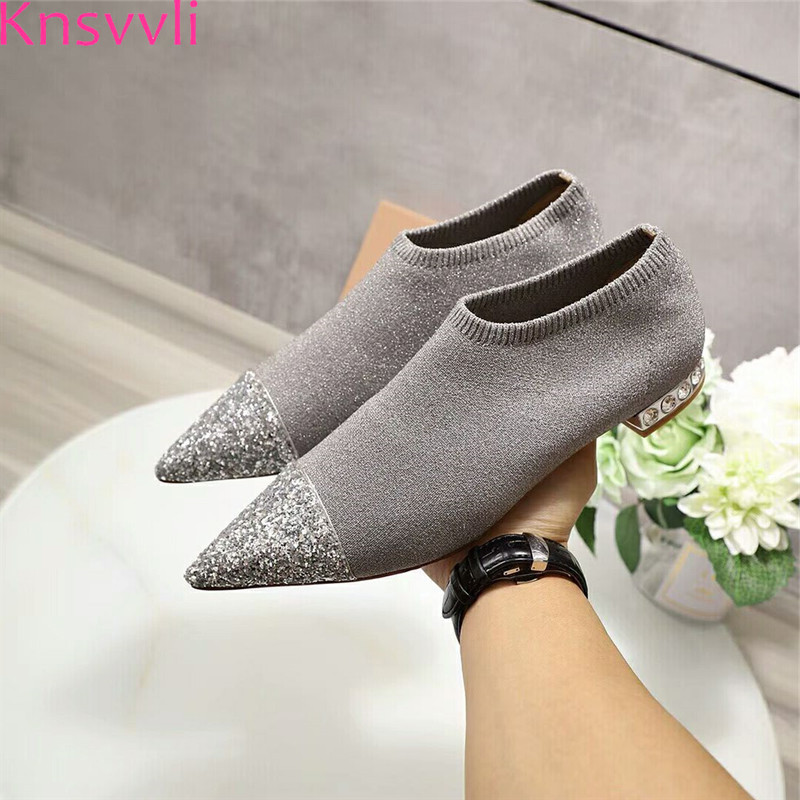 Knsvvli 2019 New Silver Sequins Knitting Flat Shoes Women Pointed Toe Crystal Heels Stretch Bling Casual