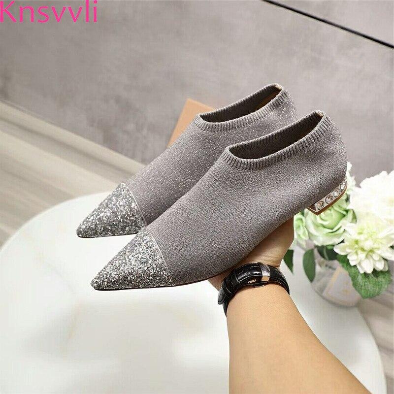 Knsvvli 2019 nouveau paillettes d'argent à tricoter chaussures plates femmes bout pointu talons en cristal extensible Bling décontracté chaussette chaussures dames