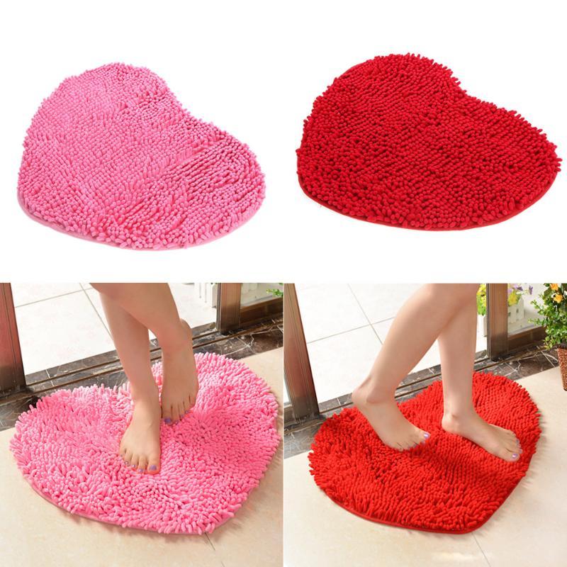 Red Pink Heart-shaped Carpet Door Mat Soft Heart-shaped Kitchen Bathroom Non-slip Carpet Mats Love Home Floor Mats Sala Tapete