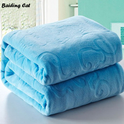 Top Quality Sheets | Top Quality Blue Embossed Jacquard Blanket Thick Warm Coral Fleece