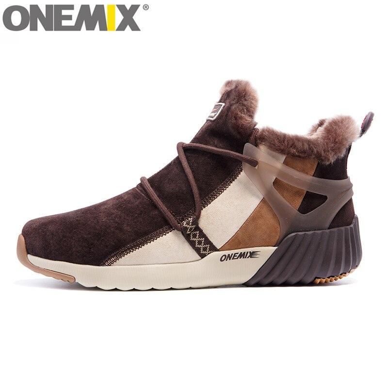 833233279a0ec Onemix Nouvelles Bottes de Neige Imperméables Femmes Sneaker Hommes  Formateurs de Marche En Plein Air de Sport Confortable Chaud Laine  Chaussures de Course ...