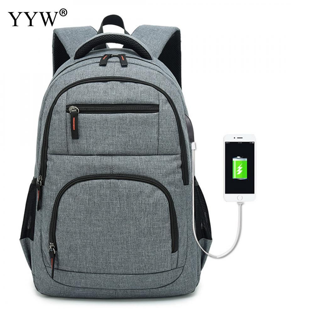 USB téléphone sac à dos hommes sac à dos pour ordinateur portable en toile grand voyage sacs d'école mâle noir gris hommes de haute qualité sacs à livres simples - 1