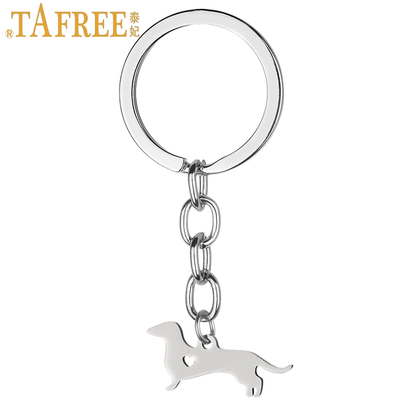 TAFREE Animal Charms Dachshunds Keychain Stainless Steel Enthusiastic Dog Pendant Key Chain Ring Holder Breeder Jewelry SKU21