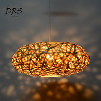 Southeast Asia Chandelier Lighting Creative Bamboo Weaving Restaurant Lustre Hanging Lamp Japanese Dining Room Light Fixtures
