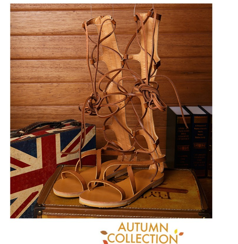 women real leather strappy open toe knee high summer gladiator boots flat heel sandals roman bandage casual shoes woman  handmade high quality 2017 summer new knee high boots gladiator women sandals boot real leather flats casual shoes black size 41