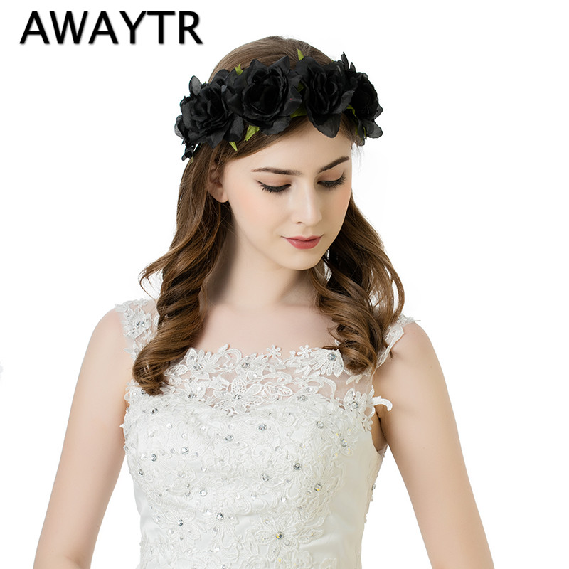 AWAYTR Hair Flower Accessories Wedding 2017 New Red Black Fabric Rose Flower Crown Headbands Boho Large Size Flower Band xinyun wedding flower crown white veil decorated bride headdress weddings hair accessories super soft hand feel hair ornaments