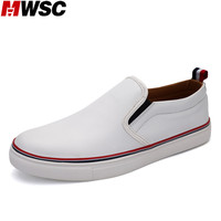 MWSC Leather Men Flats Fashion Business Style Men Loafers Casual Original Brand White Shoes PU Slipon