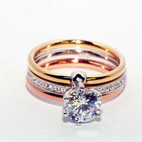 ZOZIRI Women zircon Three Tone Mix Color Ring 925 sterling silver Gold Rose Gold silver Color cz crystal three in one Rings