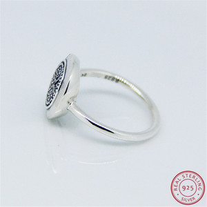 Image 3 - 925 prata esterlina clássico assinatura anéis de instrução para mulher jóias característica central brilhante disco pave conjunto claro cz flr021
