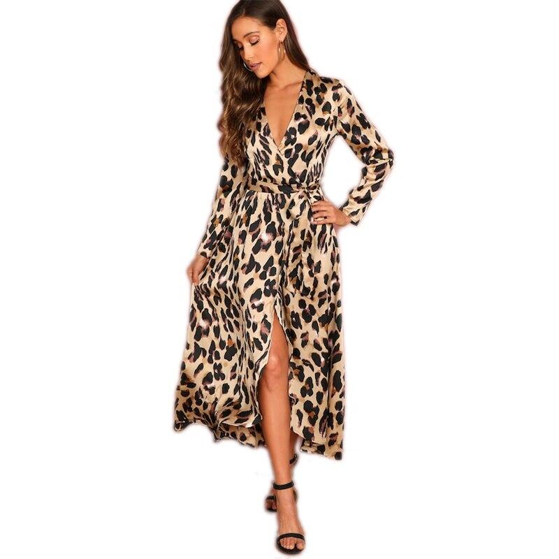 COLROVIE Deep V-Neck Surplice Wrap Satin Leopard Vintage Dress 2018 Long Sleeve Sexy Party Dress Ladies Fashion Long Dress 17