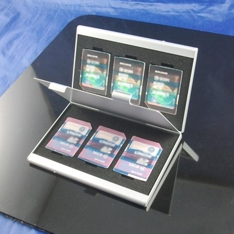 6pcs Metal Aluminum Memory Card Protecter Box Storage Case Holder 6x SD/SDHC/MMC Memory Card Storage Carrying Case Holder Wallet