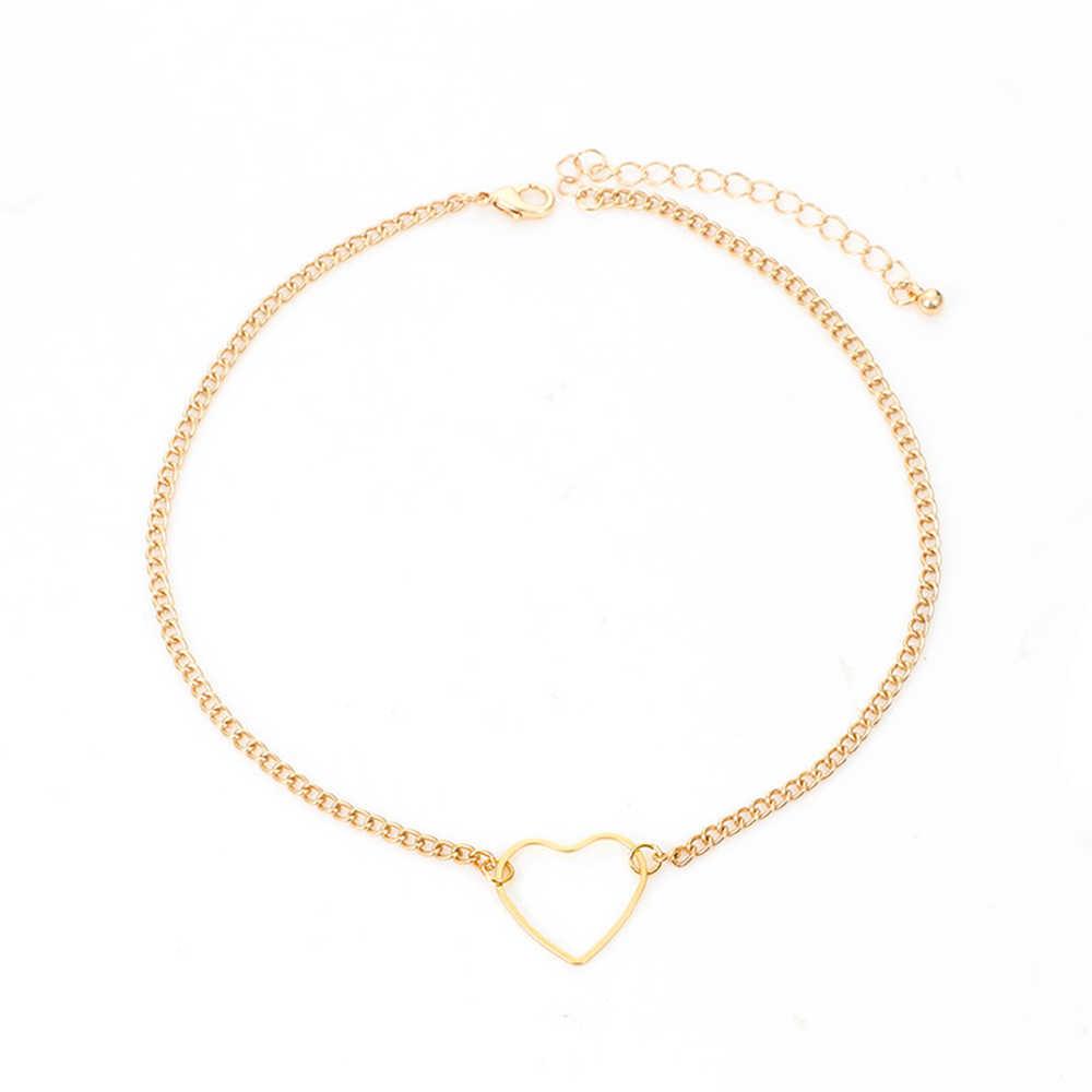Yaz basit bildirimi takı Boho sevimli Sequins Charm aşk kalp gerdanlık yaka zincir kolye kadınlar kız hediye için altın
