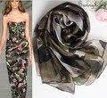 H шарф зимы женщин шелк бренд Платки и шарфы 100% чистый натуральный шелк Оливковое Камуфляж дизайнер шарфы лето стиль пляж хиджаб