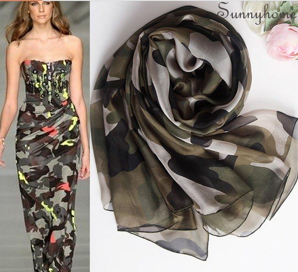 54b7a2cd12c H scarf women winter silk brand Shawls and scarves 100% pure real silk  Olive Camouflage designer scarfs summer style beach hijab-in Scarves from  Women's ...