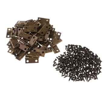 50 Pieces Antique Small Hinges Bronze Hinges with Screws for Wooden Gift Box Hinge Cabinet Drawer Jewelry Boxes Chest Dresser