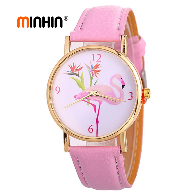 MINHIN New Fashion Women's Watches Wristbands PU Leather Bracelet Flamingo Pattern Gold Watches Quartz Watch Femme Reloj