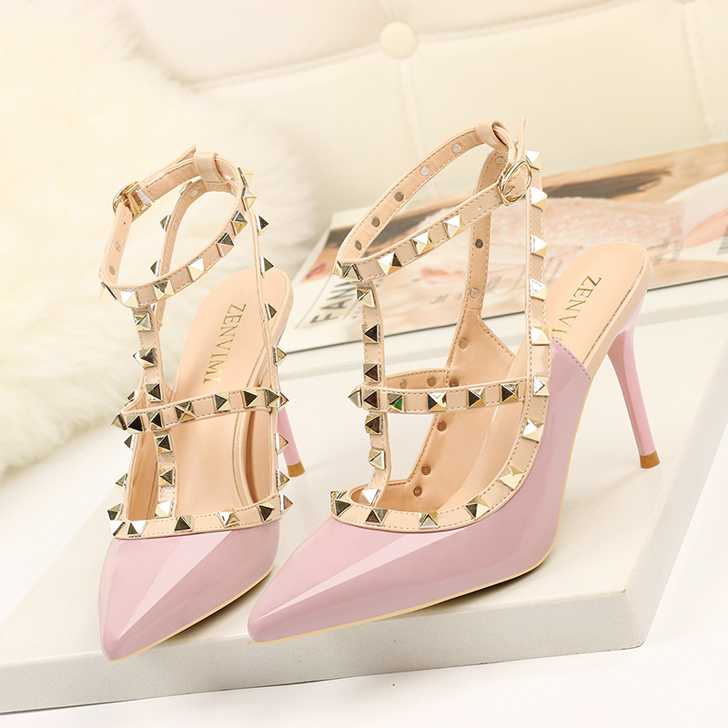Roman Sandals Shoes Stiletto Rivets High-Heels Pointed Fashion Summer Women New Shallow-Mouth