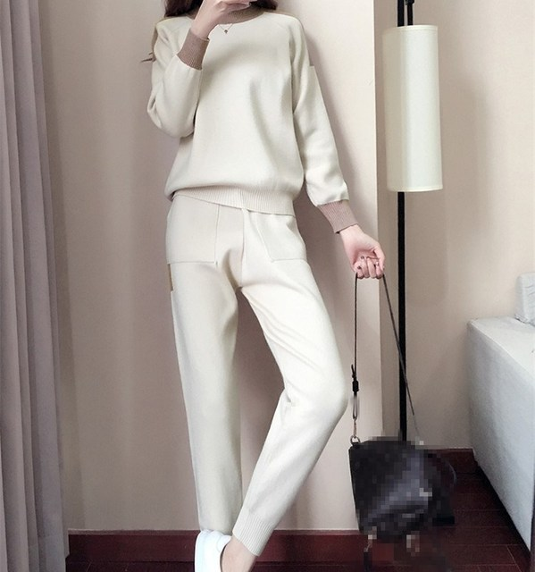 2018 Autumn Winter New Woman Two Pieces Set Casual Sweater And Pencil Pants Knitted Suits Patchwork Pockets Tracksuits Outfits