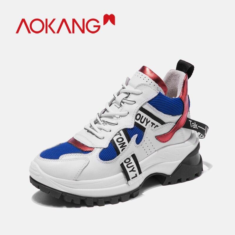 AOKANG 2019 nouveau cuir Chunky baskets femmes chaussures à lacets vulcaniser papa chaussures femme baskets chaussures décontractées