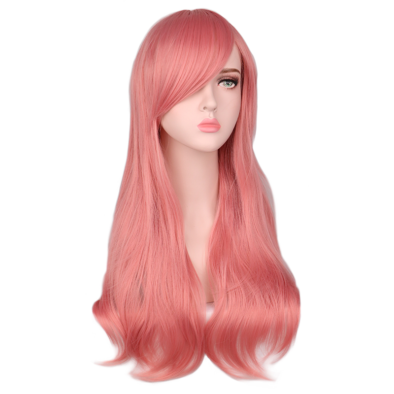 Qqxcaiw Long Curly Cosplay Wig For Men Women Pink Hair