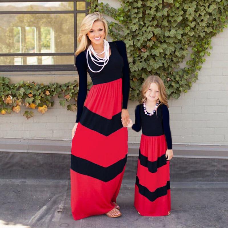 BEKE MATA mātes meitas kleitas 2017 ar svītrainām ģimenei - Bērnu apģērbi - Foto 3
