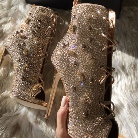 Bling Bling Peep Toe Stiletto Thin High heels Boots Peep Toe Crystal Sandal Boots Glitter Rhinestone Lace-up Short Ankle Booties