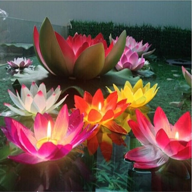 20 Cm Artificial Lotus Flower Wishing Lamp Silk Lanterns Floating