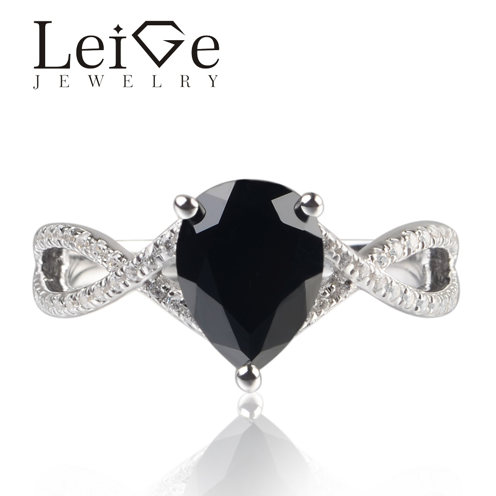 Leige Jewelry Natural Black Spinel Pear Cut Gemstone Prong Setting Ring Engagement Ring For Woman 925 Sterling SilverLeige Jewelry Natural Black Spinel Pear Cut Gemstone Prong Setting Ring Engagement Ring For Woman 925 Sterling Silver