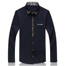 Fashion Mens Shirt 2016 New Hot Solid Color Embroidery Long Sleeve Shirt Men Cotton Camisas Hombre Casual Dress Shirts Men 7XL