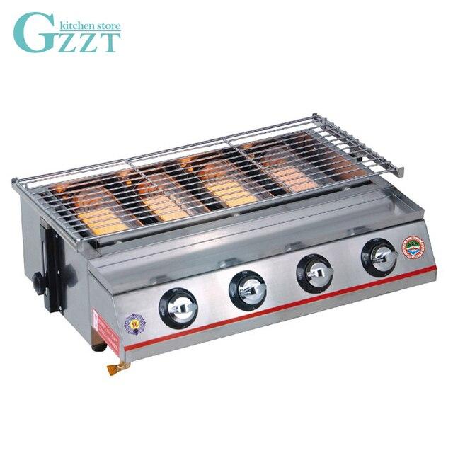 4 Burner Gas Bbq Grill Barbekyu Luar Ruangan Peralatan Berkemah Piknik Tinggi Disesuaikan Stainless Steel
