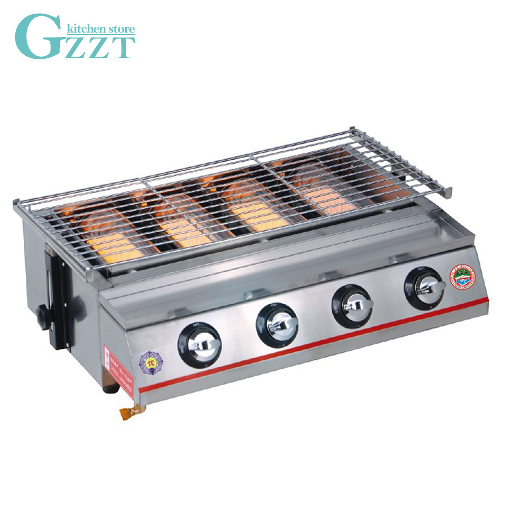 4 Burners Gas Grill BBQ Grill Outdoor Barbecue Camping Equipment Picnic Adjustable Height