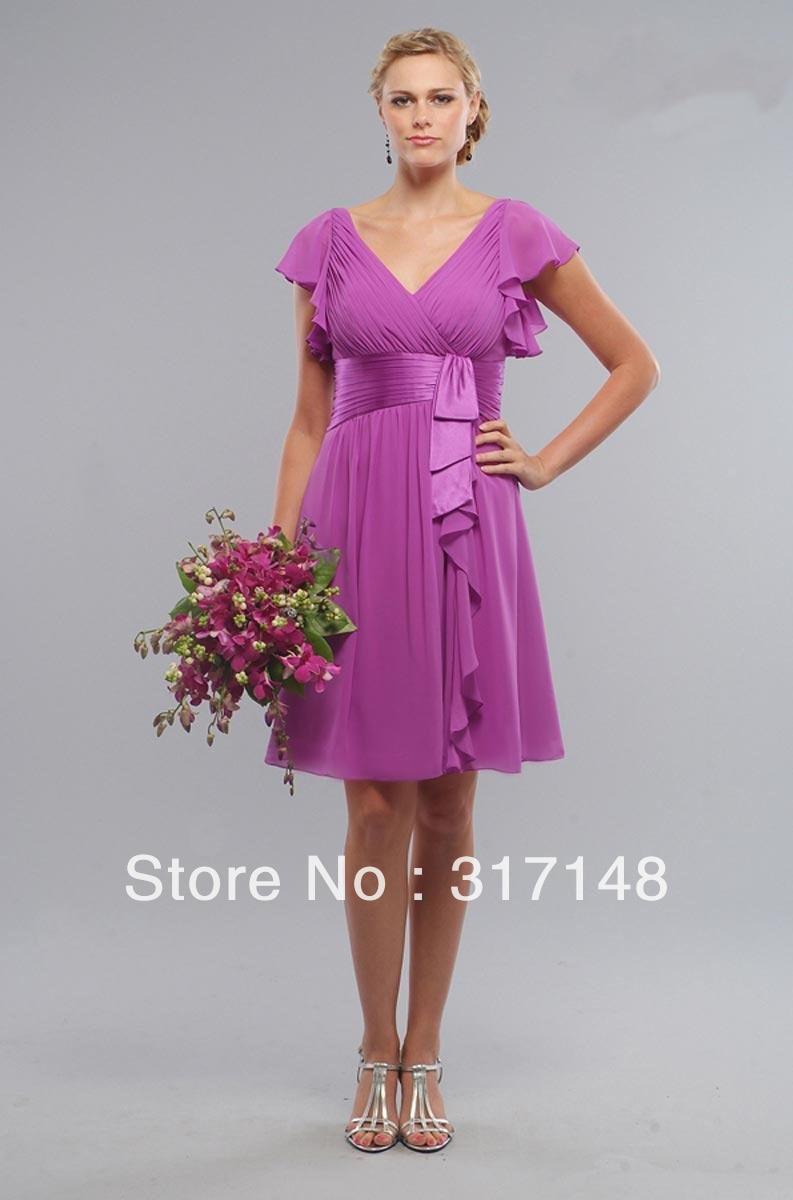 V Neck Short Sleeves Light Purple Bridesmaid Dress Knee