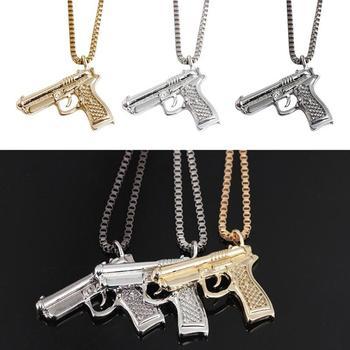 Горячая продажа хип-хоп шеи позолоченные розовые пистолетные подвески и ожерелья цепочка на шею для мужчин и женщин вечерние аксессуары ож...