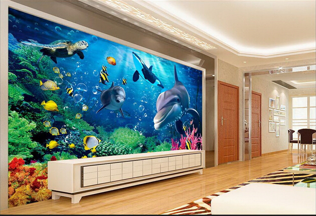 Underwater world dolphin 3d stereoscopic tv backdrop for Aquarium mural gifi