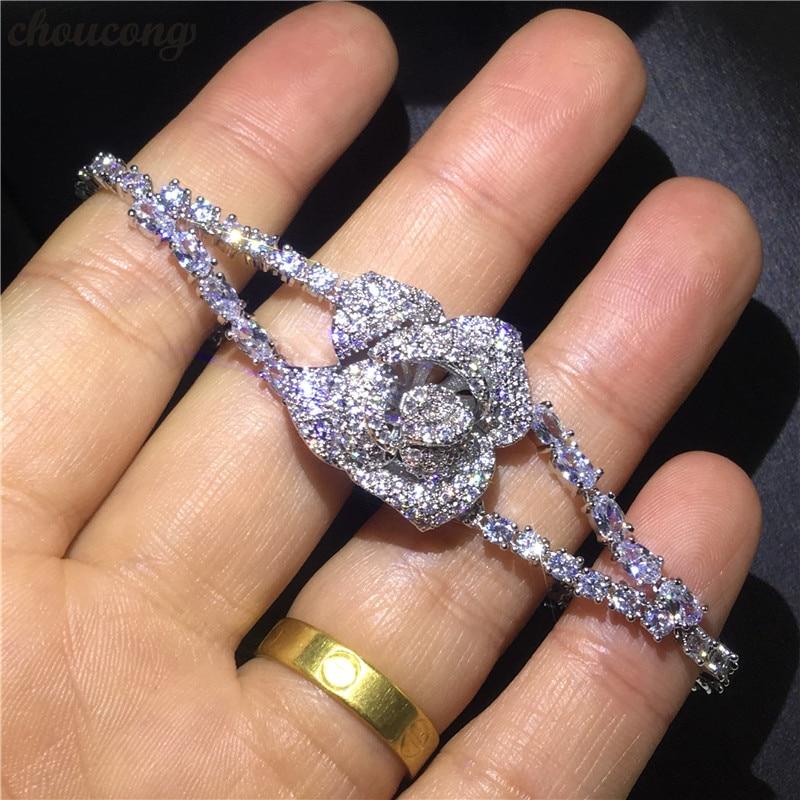 6685d86cce25 Choucong hecho a mano amantes flor pulsera Micro pave AAAA cz oro blanco  lleno fiesta boda pulseras ...