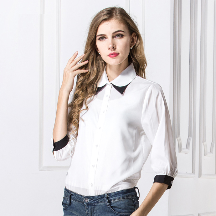 7b5ffadc437345 Fashion Color patchwork collar women chiffon shirt 2016 new designer Western  vogue style girls summer tops sleeve blouse-in Blouses   Shirts from  Women s ...